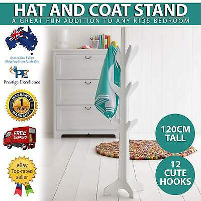 12 Hooks White Hat and Coat Stand Cute Sturdy Rack Clothes Hanger 120cm Tall New