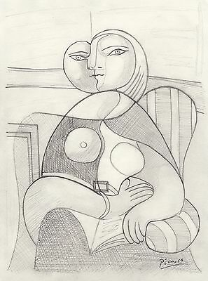 "Pablo Picasso CUBIST Drawing  ""Portrait of MARIE THERESE Reading"""