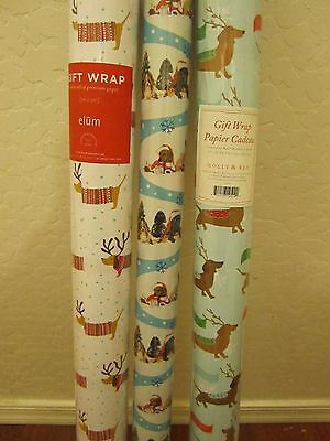 3 Premium Gift Wrap Rolls of Dachshund Dog Wrapping Paper NIP Christmas Holiday
