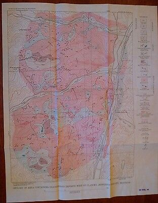 Vintage Map of Uranium Deposits in Jefferson County, Montana 1953