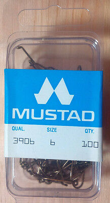 Mustad 3906, Size 6, Sproat, Package of 100, Made in Norway, Fly Tying Hooks