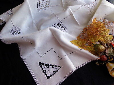 Vintage White Linen Italian TABLECLOTH Handmade Punto Venezia and Reticella Lace