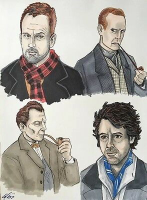 """Many Faces of Dr. Who ORIGINAL ART 8 x 10.5"""" by Adam Talley"""