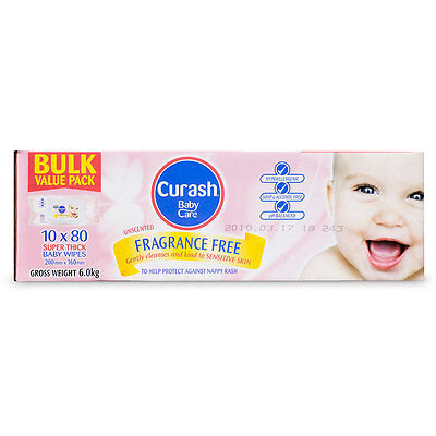 Curash Fragrance Free Wipes 10x80Pack - NEW