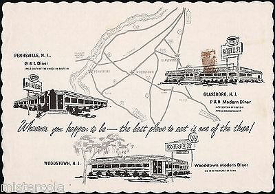 Vintage placemat G and L DINER P and B Diner Woodstown Diner Pennsville NJ map