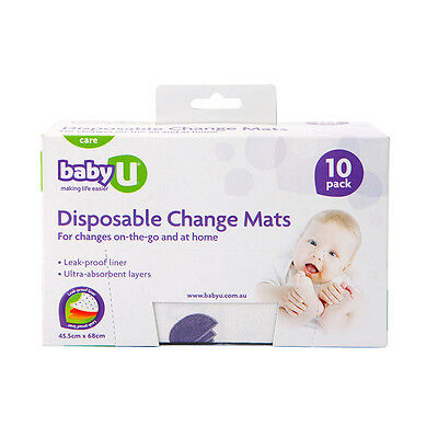 Baby U 10 Pack Disposable Change Mats - NEW