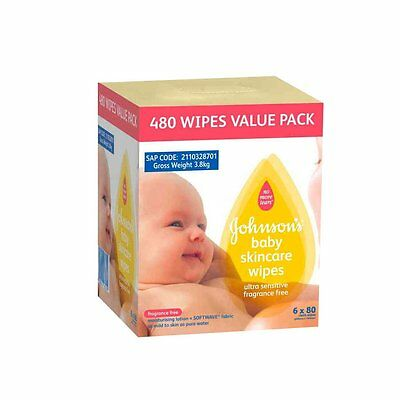 Johnson's Baby 480Pack Baby Wipes - Fragrance Free - NEW
