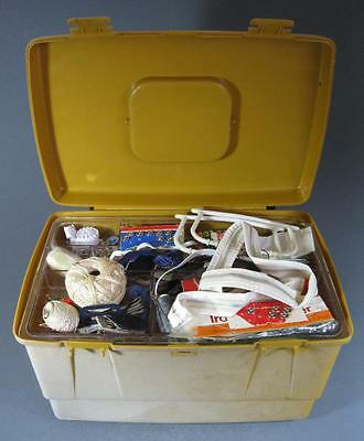 Retro/vintage 70s plastic large Nally sewing box c/w tray +contents-scrapbooking
