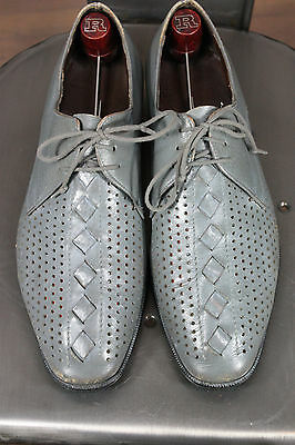 Vintage 50's leather shoes 9 oxfords gray atomic hollywood
