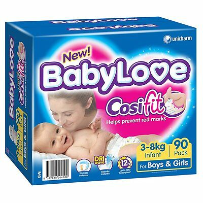 BabyLove Jumbo Cosifit Nappies Infant 90 Pack - NEW