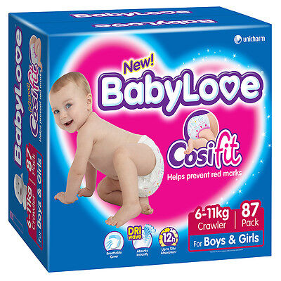 BabyLove Jumbo Cosifit Nappies Crawler 87 Pack - NEW