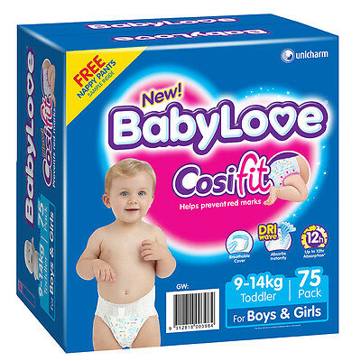BabyLove Jumbo Cosifit Nappies Toddler 75 Pack - NEW
