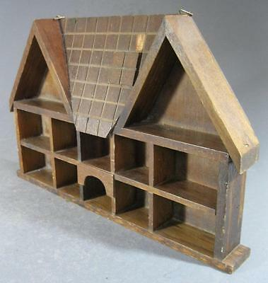 Vintage retro wooden shadow box/wall shelf -cottage house-shaped