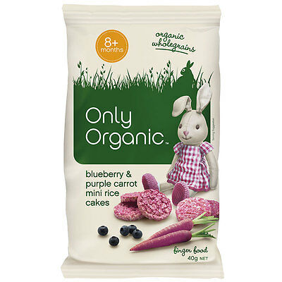 Only Organic Blueberry & Purple Carrot Mini Rice Cakes 40g - NEW