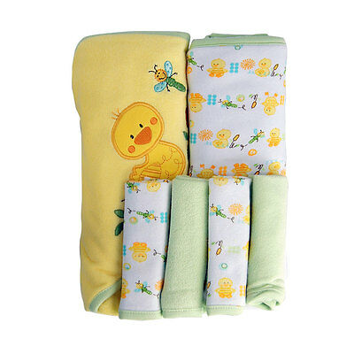 Koala Baby Neutral Hooded Towels 3 Pack - Green Turtle/Duck - NEW