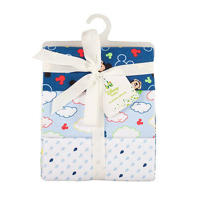 Disney Baby Mickey Mouse Flannel Wraps 3 Pack - NEW