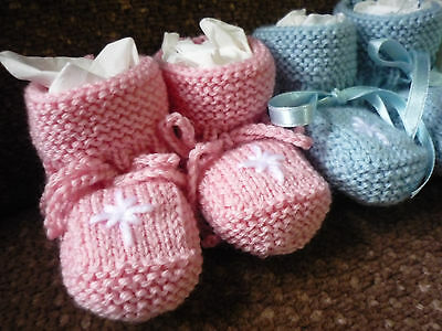 "Baby Booties, Warm 100% Merino Wool & A Little ""star Bling"", Handknitted By Me!"
