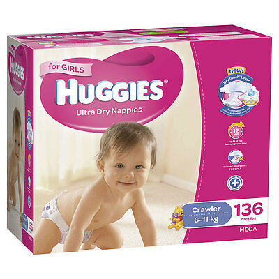 Huggies Mega Crawler Nappies 136 Pack - Girls - NEW