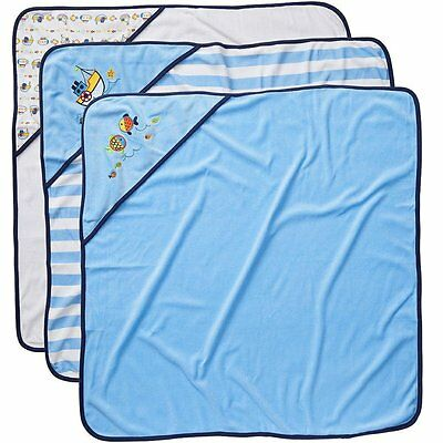 Koala Baby Boys' Hooded Towels 3 Pack - Blue Fish - NEW