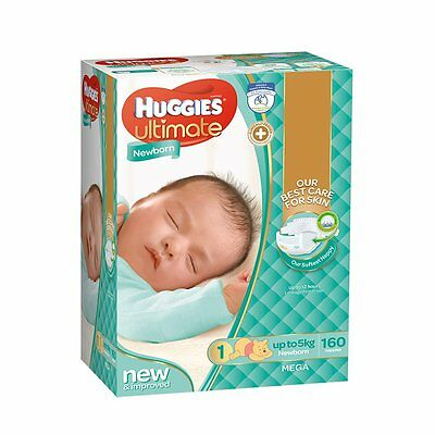 Huggies Mega Newborn Nappies - 160 Pack - NEW