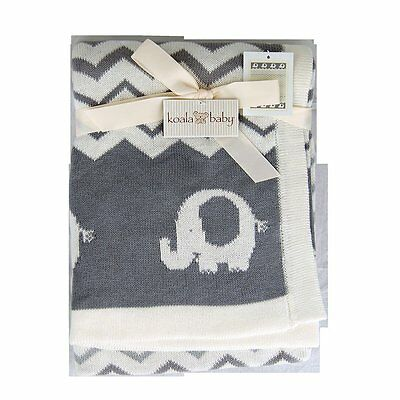 Koala Baby Grey Chevron Elephant Blanket - NEW