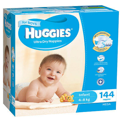 Huggies Mega Infant Nappies 144 Pack - Boys - NEW