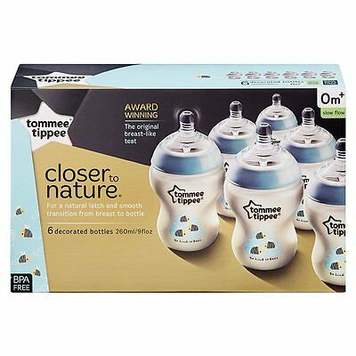 Tommee Tippee Closer To Nature Decorated Bottle 260Ml 6 Pack - Blue - NEW