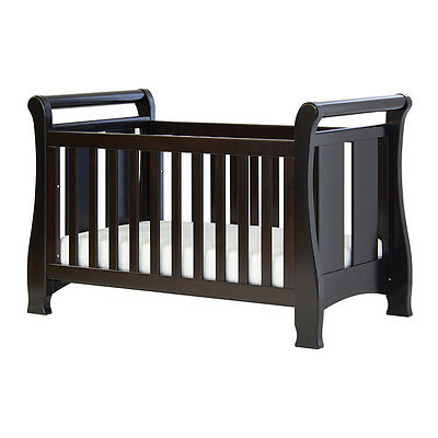Tasman Eco Seville Sleigh 4 in 1 Cot Bed - Mocha - NEW