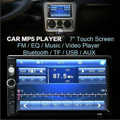 7'' HD Bluetooth Touch Screen Car Stereo Radio 2 DIN FM MP5 MP3 USB AUX Player