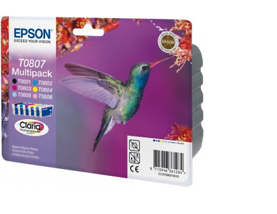 Epson T0807 (C13T08074010) Original Black & Colour Ink Cartridge 6 Pack