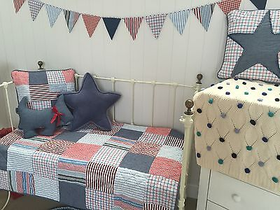 2 pce Thomas Patchwork Boys Nursery Cot Crib Quilt & Cushion Linens N Things