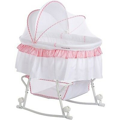 Bassinet Baby Cradle Pink White Portable 2 In 1 Canopy Rocking Portable Wheel