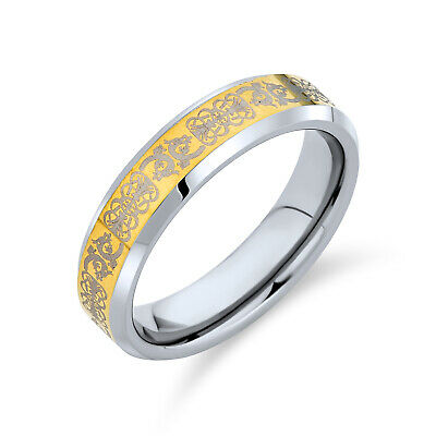 Gold Plated Celtic Dragon Tungsten Ring Comfort Fit 5mm