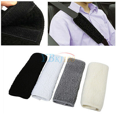 2Pcs Car Soft Fleece Seat Belt Shoulder Pad Harness Safety Strap Cushion Cover