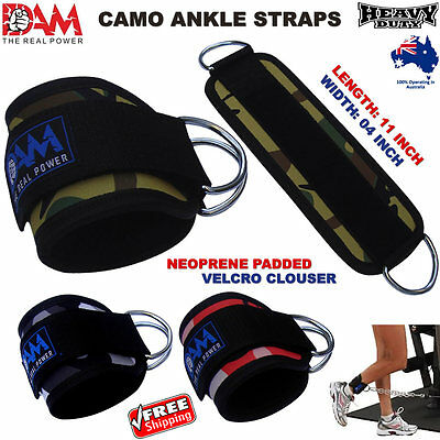 Dam Weightlifting Camo Ankle Straps D-Ring Pulley Cable Attachment Gym Leg, New