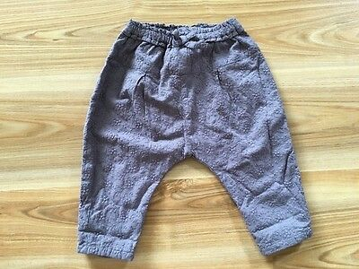 Next girls baby size 0 grey brown pants floral cotton