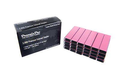 PraxxisPro Colored Staples, Pink, Standard Size Chisel Point Staples, Single Box