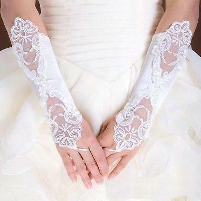 New White/Ivory Lace Long Fingerless Wedding Accessory Bridal Party Gloves
