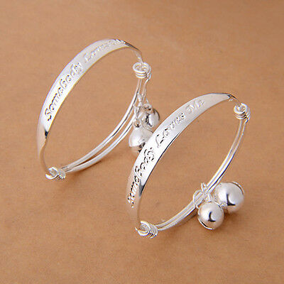 New Gift 2pcs Silver Plated Baby Kid Bell Bangle Bracelet English Letter Candid