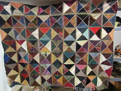 "Antique Crazy Quilt Patchwork Quilt Top   64""x50"""