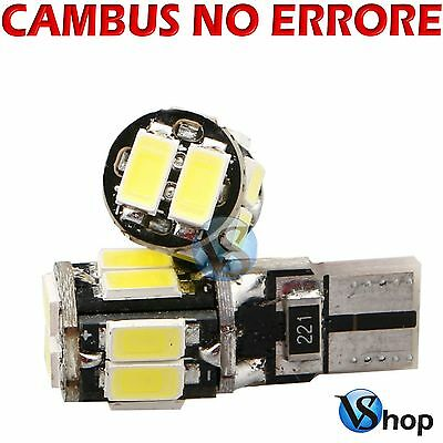 2 Lampade Auto A Led T10 W5W 10 Led Smd Canbus No Error Luce Bianca 6000K Xenon