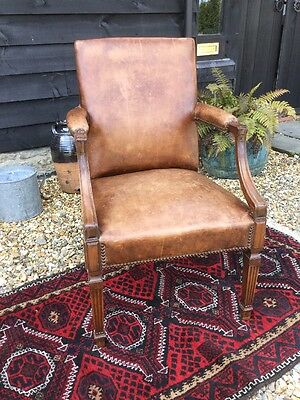Beautiful Antique Leather Arm Chair Gainsborough Desk Cigar Brown Edwardian