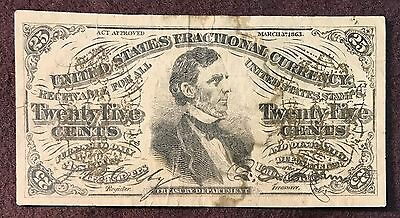 CONTEMPORARY COUNTERFEIT 1863 Fractional Note 25 cent Fr # 1295 3rd Issue