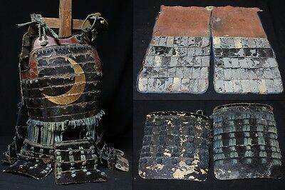 Crescent Moon Armor Edo Period Yoroi Japanese Antique w Sode and Haidate