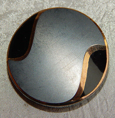 Vintage Large Black Glass Button w/ Gold  Luster  #1039-A