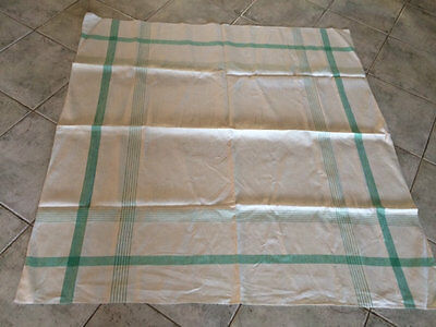 Vintage Linen Green/cream Tablecloth To Embroider.