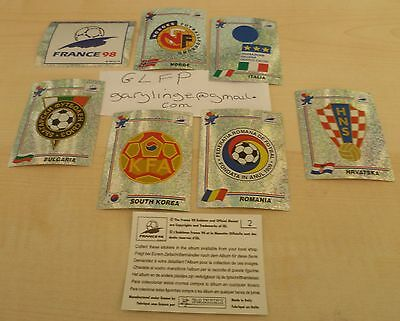 Panini France 98 stickers * 7 Different Badges * shiny foils World Cup Original