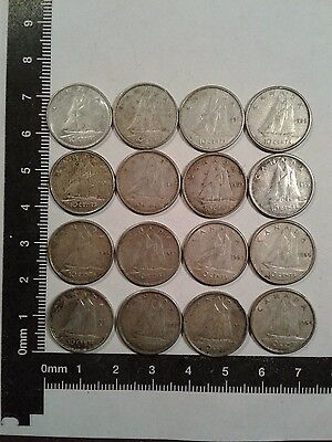 Lot Of 16 - 10 Cents Silver Coins Canada *