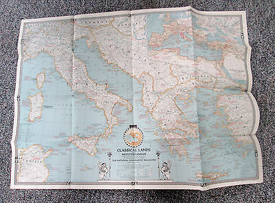 Vtg 1940 National Geographic Large Map Classical Lands of the Mediterranean 563