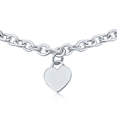 Solid Heart Shape Tag Pendant Necklace Engravable Sterling Silver Heavy Rolo